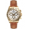 116518-WDL Rolex Daytona Yellow Gold Diamond White Dial Leather Strap Watch