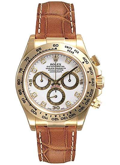 116518 Wdl Rolex Daytona Yellow Gold Diamond Dial Leather Watch