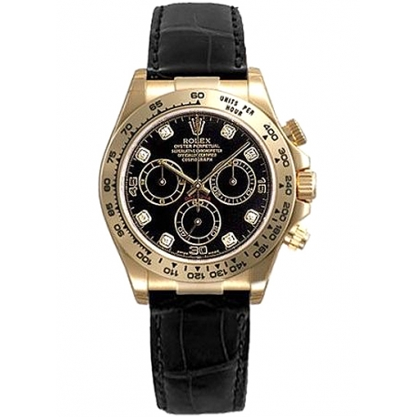 116518-DD Rolex Daytona Yellow Gold Diamond Black Dial Leather Strap Watch