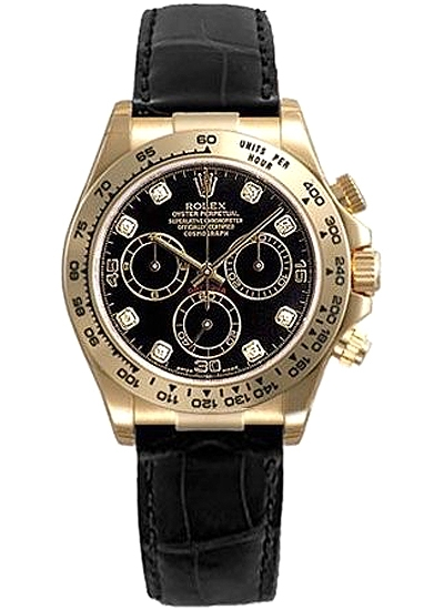 Rolex Cosmograph Daytona Yellow Gold Diamond Black Dial Leather Watch 116518 Dd