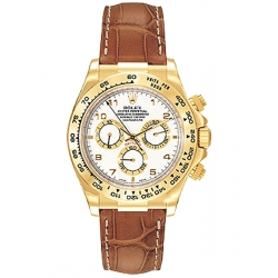 Rolex Cosmograph Daytona Yellow Gold Arabic White Dial Leather Watch 116518-WAL