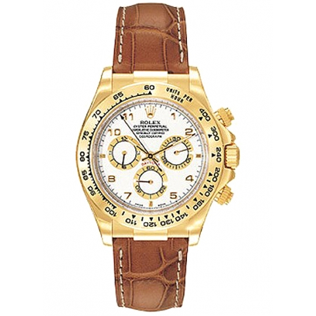 116518-WAL Rolex Daytona Yellow Gold Arabic White Dial Leather Strap Watch