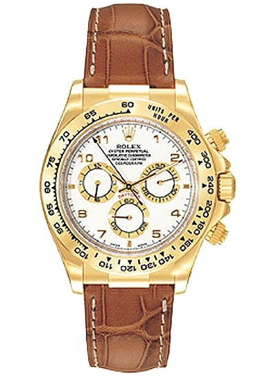 116518 Wal Rolex Daytona Yellow Gold Arabic Dial Leather Watch