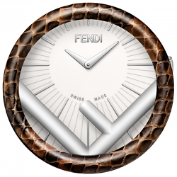 F721044000 Fendi Run Away Brown Elaphe Table Clock 60 mm Watch