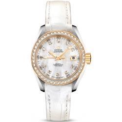 Omega Aqua Terra Womens Gold Diamond Watch 231.28.30.20.55.002
