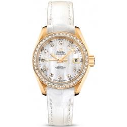 Omega Aqua Terra Womens Gold Diamond Watch 231.58.30.20.55.002
