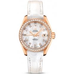 Omega Aqua Terra Womens Gold Diamond Watch 231.58.30.20.55.001