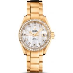 Omega Aqua Terra Womens Gold Diamond Watch 231.55.30.20.55.002