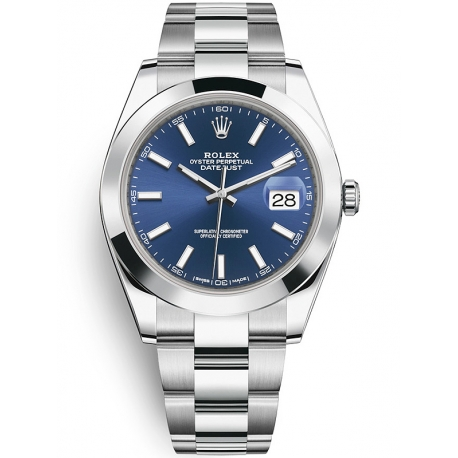 126300-0001 Rolex Datejust Steel Blue Dial Smooth Bezel Oyster Watch 41mm