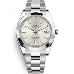 126300-0003 Rolex Datejust Steel Silver Dial Smooth Bezel Oyster Watch 41mm