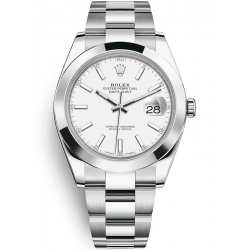 Rolex Datejust 41 Steel White Dial Smooth Bezel Oyster Watch 126300