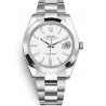 126300-0005 Rolex Datejust Steel White Dial Smooth Bezel Oyster Watch 41mm