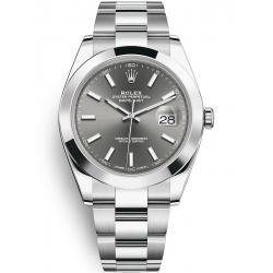 126300-0007 Rolex Datejust Steel Dark Rhodium Dial Smooth Bezel Oyster Watch 41mm