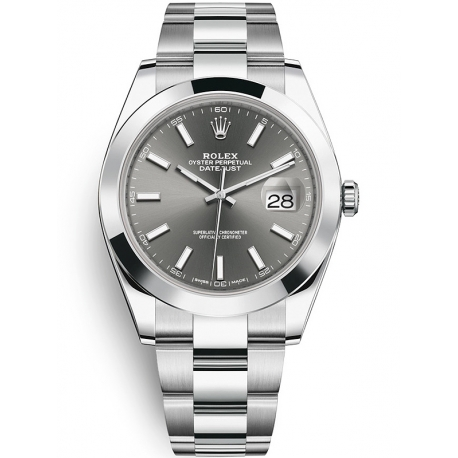 126300-0007 Rolex Datejust Steel Dark Rhodium Dial Smooth Bezel Oyster Watch 41mm