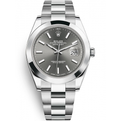 Rolex Datejust 41 Steel Dark Rhodium Dial Smooth Bezel Oyster Watch 126300