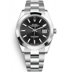 126300-0011 Rolex Datejust Steel Black Dial Smooth Bezel Oyster Watch 41mm