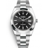 126300-0011 Rolex Datejust Steel Black Dial Smooth Bezel Oyster Watch 41mm