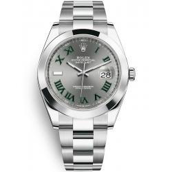 126300-0013 Rolex Datejust Steel Slate Dial Smooth Bezel Oyster Watch 41mm