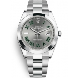 Rolex Datejust 41 Steel Slate Dial Smooth Bezel Oyster Watch 126300