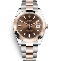Rolex Datejust 41 Steel Everose Gold Chocolate Dial Oyster Watch 126301