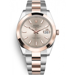 Rolex Datejust 41 Steel Everose Gold Sundust Dial Oyster Watch 126301