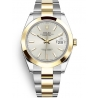 126303-0001 Rolex Datejust Steel 18K Yellow Gold Silver Dial Oyster Watch 41mm