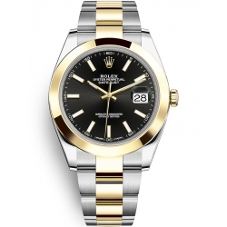 Rolex Datejust 41 Steel Yellow Gold Black Dial Oyster Watch 126303