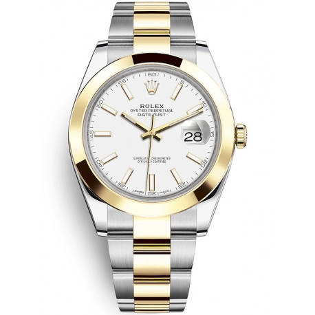 126303-0015 Rolex Datejust Steel 18K Yellow Gold White Dial Oyster Watch 41mm