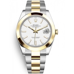 Rolex Datejust 41 Steel Yellow Gold White Dial Oyster Watch 126303