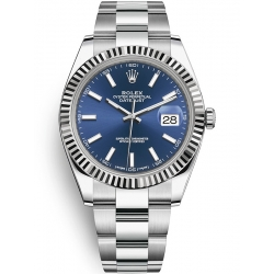 Rolex Datejust 41 Steel White Gold Blue Dial Fluted Bezel Oyster Watch 126334