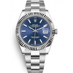 126334-0001 Rolex Datejust Steel 18K White Gold Blue Dial Fluted Bezel Oyster Watch 41mm