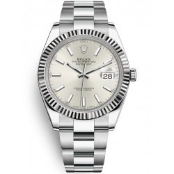 126334-0003 Rolex Datejust Steel 18K White Gold Silver Dial Fluted Bezel Oyster Watch 41mm