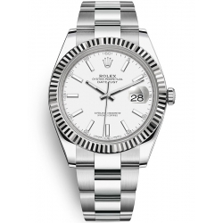 126334-0009 Rolex Datejust Steel 18K White Gold White Dial Fluted Bezel Oyster Watch 41mm