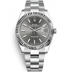 126334-0013 Rolex Datejust Steel 18K White Gold Dark Rhodium Dial Fluted Bezel Oyster Watch 41mm