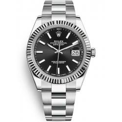 126334-0017 Rolex Datejust Steel 18K White Gold Black Dial Fluted Bezel Oyster Watch 41mm