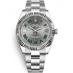 126334-0021 Rolex Datejust Steel 18K White Gold Slate Dial Fluted Bezel Oyster Watch 41mm