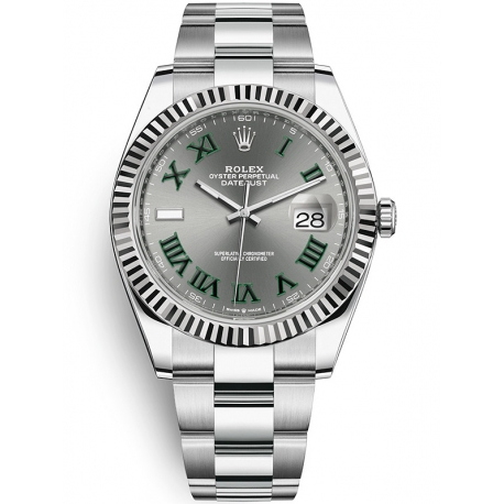 126334-0021 Rolex Datejust Steel 18K White Gold Slate Dial Fluted Bezel Oyster Watch 41mm