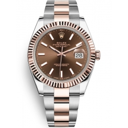 Rolex Datejust 41 Steel Everose Gold Chocolate Dial Oyster Watch 126331