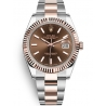 126331-0001 Rolex Datejust Steel 18K Everose Gold Chocolate Dial Fluted Bezel Oyster Watch 41mm