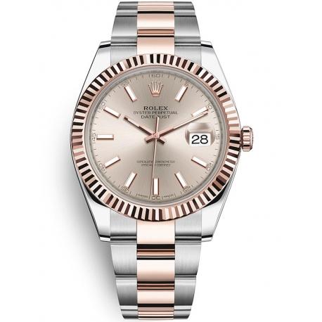 126331-0009 Rolex Datejust Steel 18K Everose Gold Sundust Dial Fluted Bezel Oyster Watch 41mm