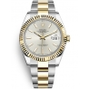 126333-0001 Rolex Datejust Steel 18K Yellow Gold Silver Dial Fluted Bezel Oyster Watch 41mm