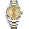 126333-0009 Rolex Datejust Steel 18K Yellow Gold Champagne Dial Fluted Bezel Oyster Watch 41mm