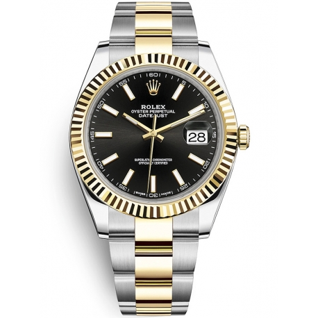 126333-0013 Rolex Datejust Steel 18K Yellow Gold Black Dial Fluted Bezel Oyster Watch 41mm