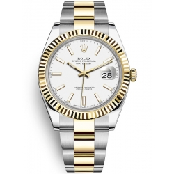 Rolex Datejust 41 Steel Yellow Gold White Dial Oyster Watch 126333