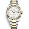 126333-0015 Rolex Datejust Steel 18K Yellow Gold White Dial Fluted Bezel Oyster Watch 41mm