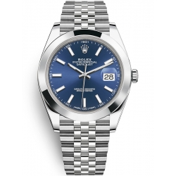 Rolex Datejust 41 Steel Blue Dial Smooth Bezel Jubilee Watch 126300