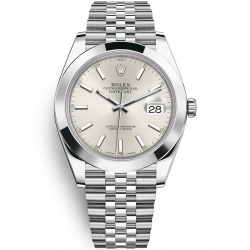 Rolex Datejust 41 Steel Silver Dial Smooth Bezel Jubilee Watch 126300