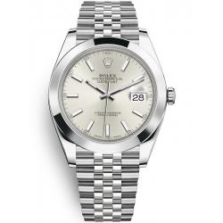 Rolex Datejust 41 Steel Silver Dial Smooth Bezel Jubilee Watch 126300