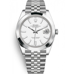 Rolex Datejust 41 Steel White Dial Smooth Bezel Jubilee Watch 126300
