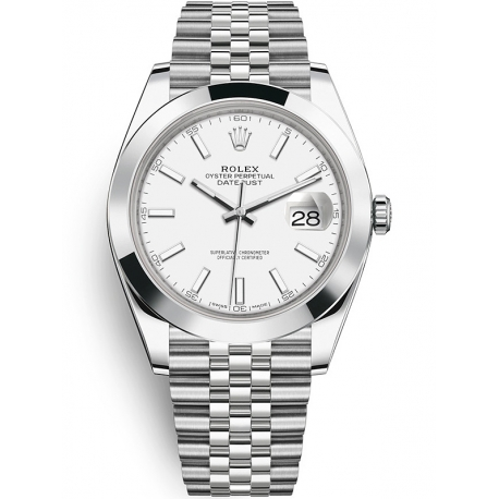 126300-0006 Rolex Datejust Steel White Dial Smooth Bezel Jubilee Watch 41mm